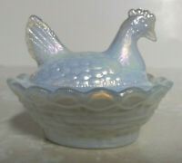 Boyd Milk White Carnival Glass Chicken on Nest Salt Dish 3rd 5 Years of Boyd