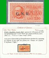 ITALIA 1943 G.N.R. Tiratura BRESCIA EX n.20/II L.2,50 MNH** VARIETà CERTIF LUSSO