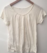 Ladies White Round Neck Short Sleeve Top Size S<NH7978