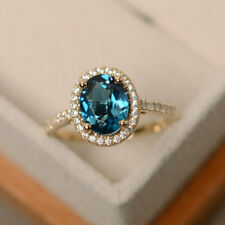 2.30 Carat Topaz Engagement Ring 14K Yellow Gold Natural Diamond Rings Size 6 7