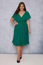 Abendkleid Gr.44+46+52+54 Chiffonkleid Wickelkleid Kleid knielang grün Cocktail