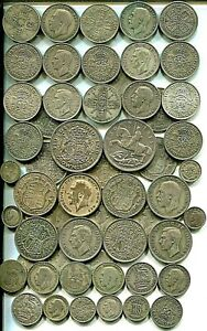 £5 pre 1947 Crowns to Threepences, all different, 8.97 tr oz silver mixed grades