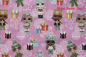 LOL Surprise Dolls ~ Christmas Gift Wrapping Paper ~ 2 Yards ~ Ships Same Day! 1