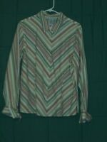 SAG HARBOR Long Sleeve Button Front Stretch Shirt Top Size 16
