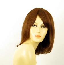 perruque femme 100% cheveux naturel châtain clair cuivré ref LISE  30