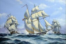 Sailboat Naval battle oil painting Picture Printed on canvas 16X24 Inch