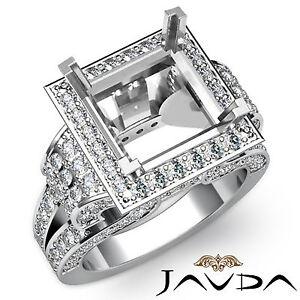 Antique Diamond Princess Semi Mount Engagement Huge Ring 18k White Gold 2.25Ct