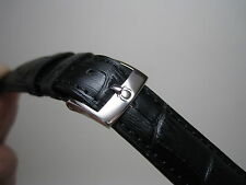 20MM BLACK LEATHER STRAP BAND STAINLESS STEEL SMALL LOGO BUCKLE FOR OMEGA WATCH