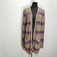 Eddie Bauer Women Cardigan Sweater Size L Pockets Knit Rainbow Stripe Open Front
