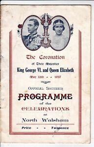 PROGRAMME, CORONATION, KING GEORGE VI & QUEEN ELIZABETH, NORTH WALSHAM, 1937