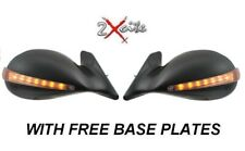 BMW E46 4 DOOR BLACK K10 GTR M3 DTM PAIR WING MIRRORS LED INDICATOR BASE PLATES