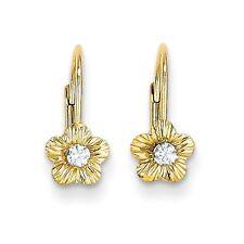 14k Solid Yellow Gold Madi K Flower w/Cubic Zirconia Leverback Earrings
