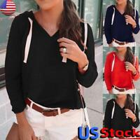 US Women's Hooded Pockets V Neck Tops Ladies Casual Loose Pullover Jumper Blouse