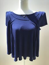 One Clothing Los Angeles Navy Sz M Oversized Woman Swing Style Thermal Crop Top