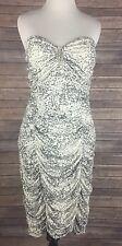 Torrid Sz 3 22/24 Strapless Tube Bandage Dress White Silver Glitter Animal Print
