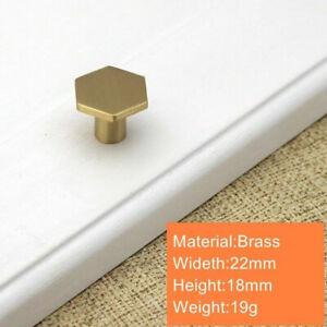 Hexagon Solid Brass Kitchen Cabinet Door Knobs Handles Cupboard Drawer Pulls UK