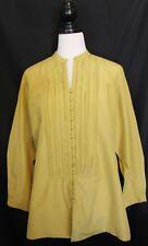 MAGGIE T ~ Mustard Yellow Cotton Silk 3/4 Sleeve Pintucked Tunic Top Blouse 18