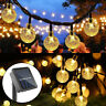 Solar Powered LED String Light Crystal Ball Garden Path Yard Patio Decor Lamp