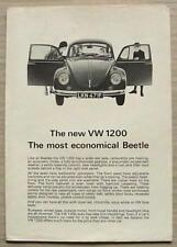 VOLKSWAGEN 1200 BEETLE Car Sales / Specification Leaflet 1968 #2/1200/68