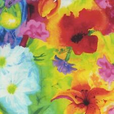 Fabric Flowers Ambrosia Full Watercolor Bright on Timeless Cotton by 1/4 yard