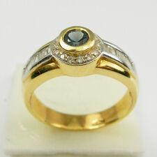 Blue Sapphire Round Baguette Diamonds Bezel Ring Genuine 750 18ct Yellow Gold