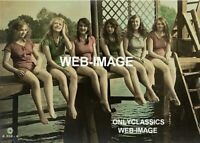 1910 CUTE SWIMSUIT GIRLS LINEUP AT LAKE SUMMER COTTAGE CABIN PHOTO VICTORIAN ERA