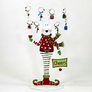 "Pier 1 Imports REINDEER 15"" Metal & Glass Drink Charm Set Christmas Holiday MIB"