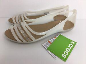 Women's Crocs Isabella Huarache Flat Sandal 202463-Oyster/Walnut Size 11
