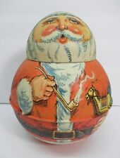 Vintage Antique Style Bristol Smoking Pipe Santa Claus Christmas Tin Roly Poly
