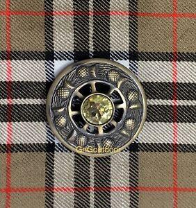 Kilt Fly Plaid Brooch Thistle Design Yellow Stone Highland Kilt Antique Brooches