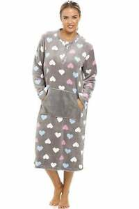 Camille Women's Heart Print Supersoft Grey Midi Lounger Nightdress - 10/12