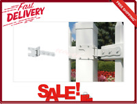 White Gate Hinge With 6 Pieces Clips and Screws for Wood Vinyl Locking Latch New