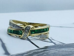 9ct Gold Natural Emerald & Diamond Sparkly Crossover Eternity Ring Sz L