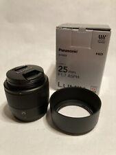 Panasonic Lumix G 25mm F1.7 Lens 25/1.7 MFT H-H025K In Mint Condition