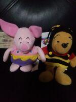 "The Disney Store Winnie The Pooh. And piglet Mini Bean Bag Plush. 8"""