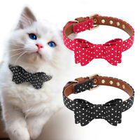 Small Dog Bow Tie Collar Leather Padded for Pet Puppy Cat Chihuahua Yorkshire