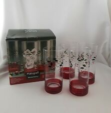 Pfaltzgraff Winterberry Glass Tumblers SET 4 BOX Etched Handpainted Holly Berry