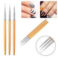 3Pcs/Set UV Gel Liner Brush Set Painting Acrylic Pen Gourd Handle Nail Art Tools
