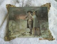 Antique 1900  Print Under Glass~Pilgrim Like Couple w/Gun~Ornate Corners