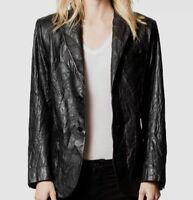 $1520 Zadig & Voltaire Women's Black Volta Crinkled Leather Blazer Jacket Size S