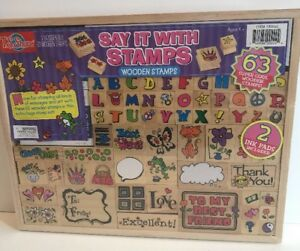 T.S SHURE SAY IT WITH STAMPS SET 63 WOODEN STAMPS SCRAPBOOKING CRAFTS