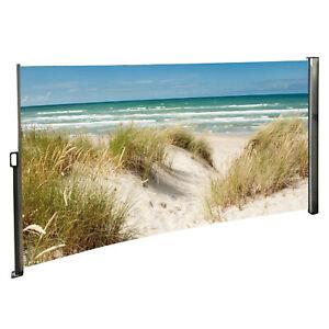 Seitenmarkise Sichtschutz Windschutz Ostsee Strand Motiv - ausziehbar Alu Rechts