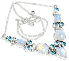 20g Rainbow Moonstone & Blue Topaz 925 Sterling Silver Necklace Jewelry SN15056