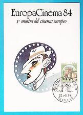 CARTOLINA EUROPA CINEMA DISEGNO FEDERICO FELLINI  RIMINI 1984 ANNULLO RIMINI