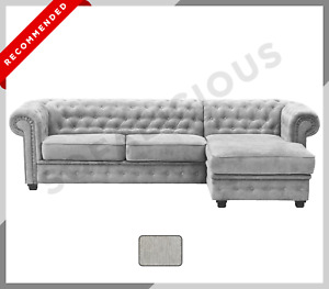 CORNER SOFA BED Imperial Chesterfield Chaise Corner in Fabric | Light Grey