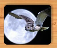 BIRD OWL QUIET FLY IN FULL MOON NIGHT MOUSE PAD -sdc6Z