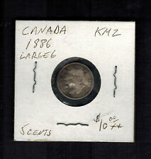 1886 Canada 5 Cents Y 2 Silver Coin Large 6