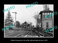 OLD LARGE HISTORIC PHOTO OF CLINTON CONNECTICUT THE RAILROAD DEPOT & TOWER 1915