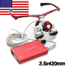 USA-LED HeadLight Lamp+ 3.5x420mm Dental Loupes Surgical Medical Binocular Loupe