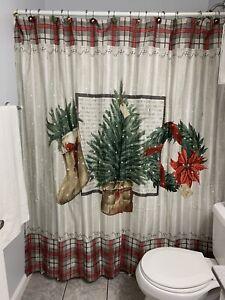 Farmhouse Holiday by Avanti Christmas Shower Curtain  with 12 Hooks Tree Wreath
